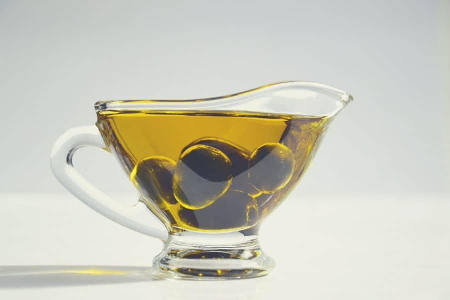 a bowl full of olive oil